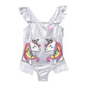 Betsey Johnson unicorn silver ruffle swimsuit